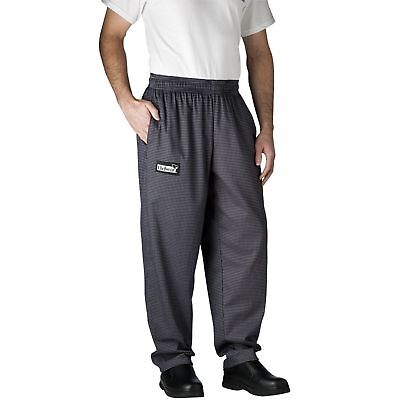 New Chefwear Mens 100 Cotton Baggy Chef Pants Gray Houndstooth L-5xl