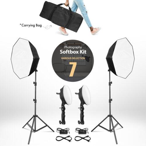 "Photography Studio Lighting 24"" Softbox LED, 78"" Photo Light Stand, Carrying Bag"