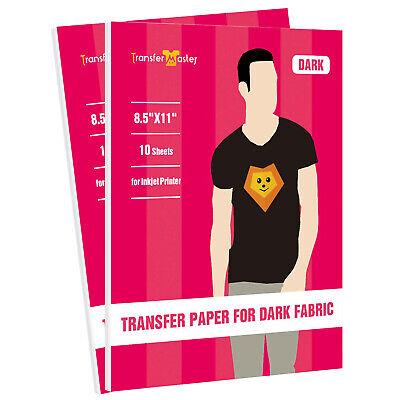 Inkjet Iron On Printable Heat Transfer Paper Dark Fabric Cotton 20 Sheets 8.5x11