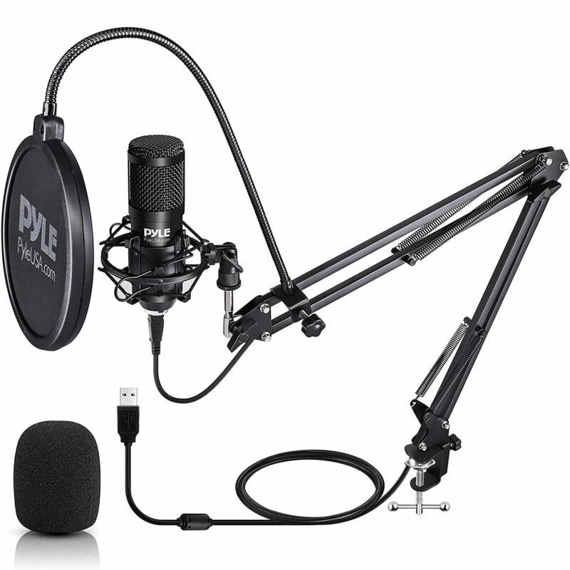 Pyle PDMIKT140 Pro Audio Recording Computer Desk Attached USB Microphone Kit