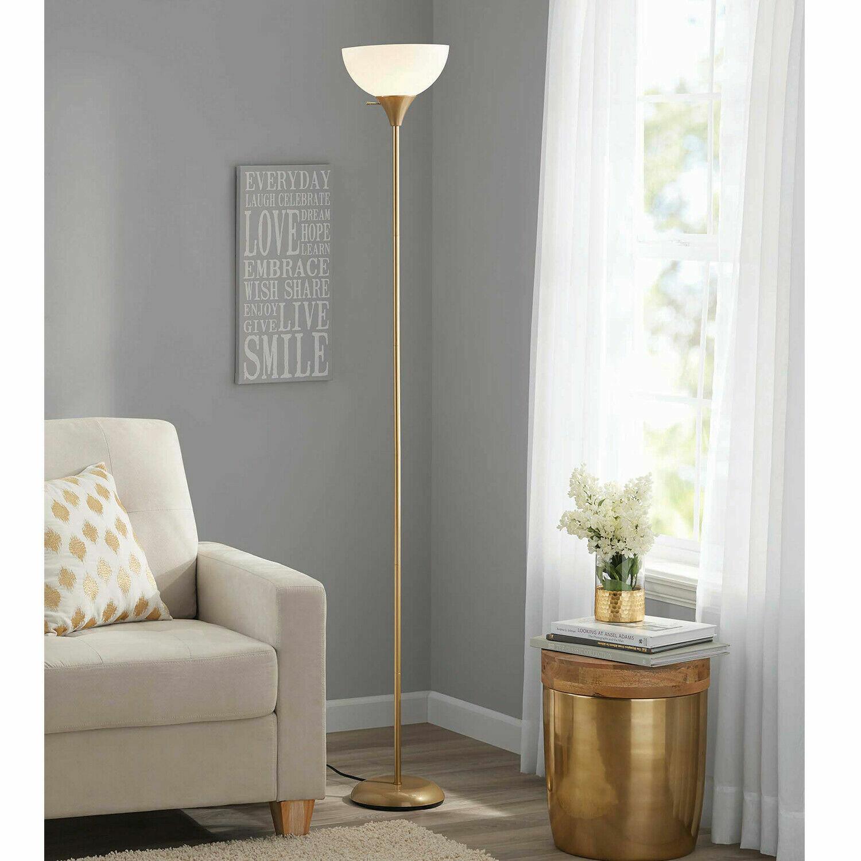 """71"""" inch Floor Lamp Modern Light White Shade Standing Gold B"""