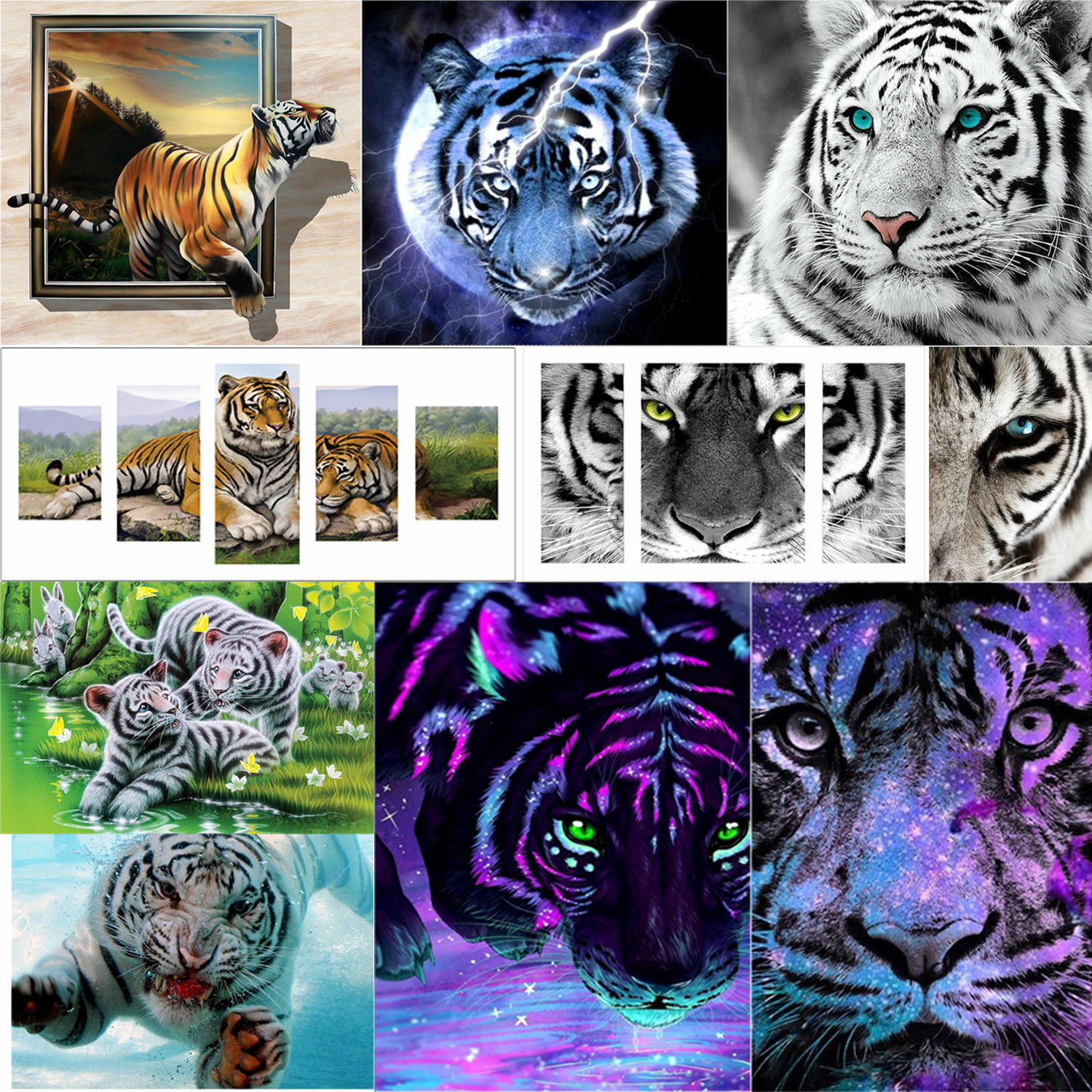 5D Full Drill Tiger Diamond Painting Cross Craft Stitch Kits