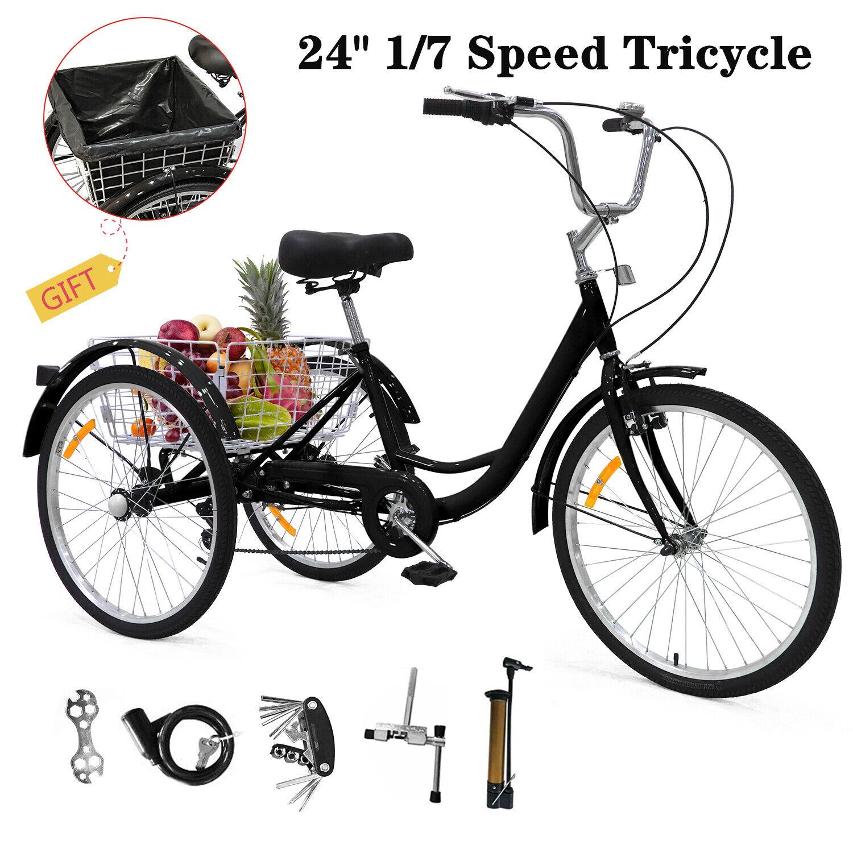 """24"""" Tricycle 1/7 Speed Adult 3-Wheel Trike Bicycle Basket Fo"""
