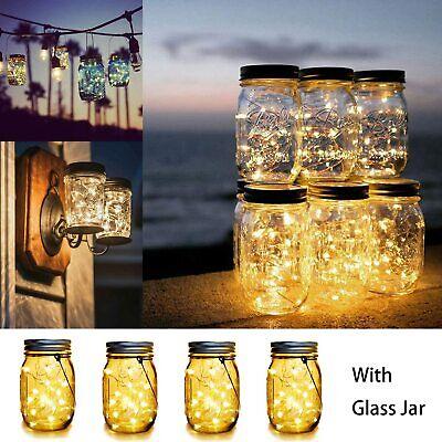 4er LED Solarlicht Laterne Sonnen-leuchte Deko-Beleuchtung Garten Glas 20LED