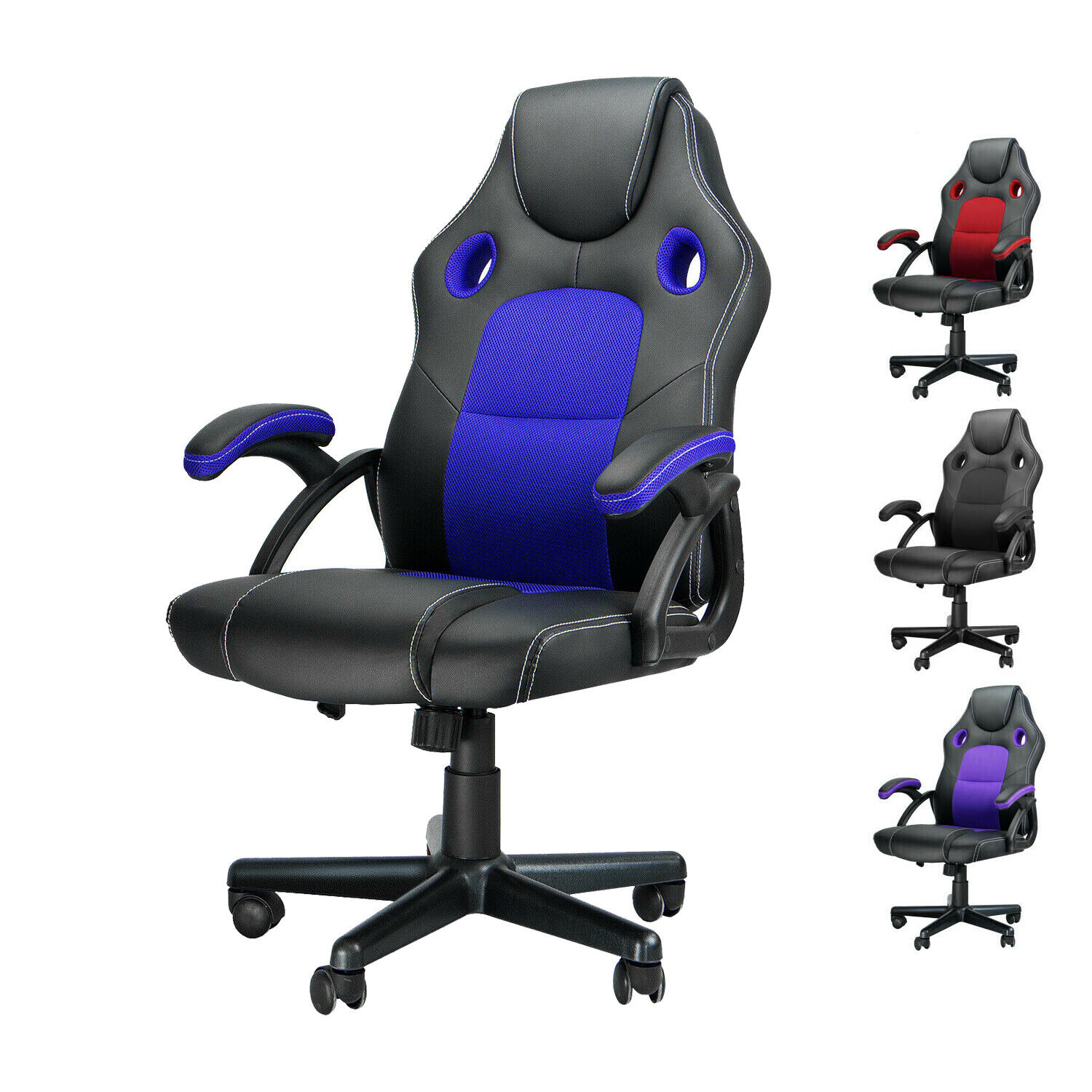Leather Gaming Racing Chair Ergonomic Recliner Executive Off