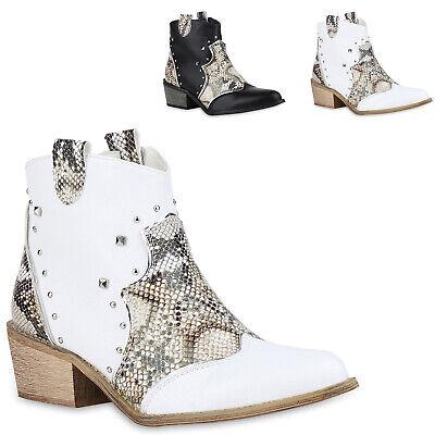 Damen Stiefeletten Cowboy Boots Snake Western Schuhe Nieten 830053 Trendy Neu Snake Boots