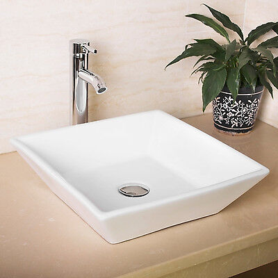 New Bathroom White Square Porcelain Ceramic Vessel Sink Bowl&Chrome ...