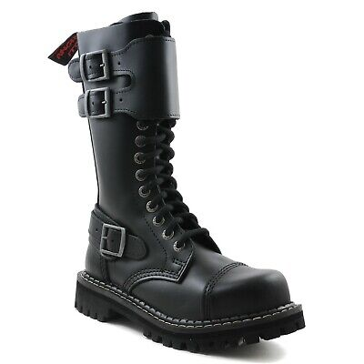 Angry Itch Combat Boots Black Leather 14 Eyelets 3 Buckles Steel Toe Punk Army 14 Eyelet Steel Toe Boot