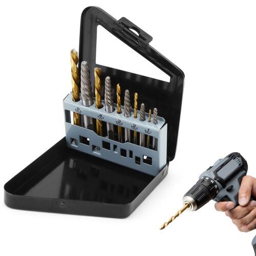 10pcs Screw Extractor Kits Left Hand Cobalt Drill Bit Set Easy Out Broken Bolt