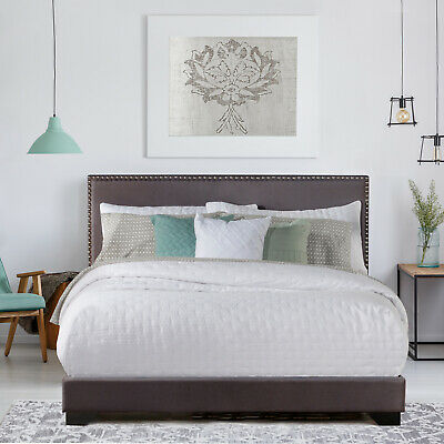 queen size upholstered bed frame with wood