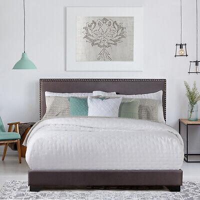 Queen Size Upholstered Bed Frame With Wood Slats Platform He