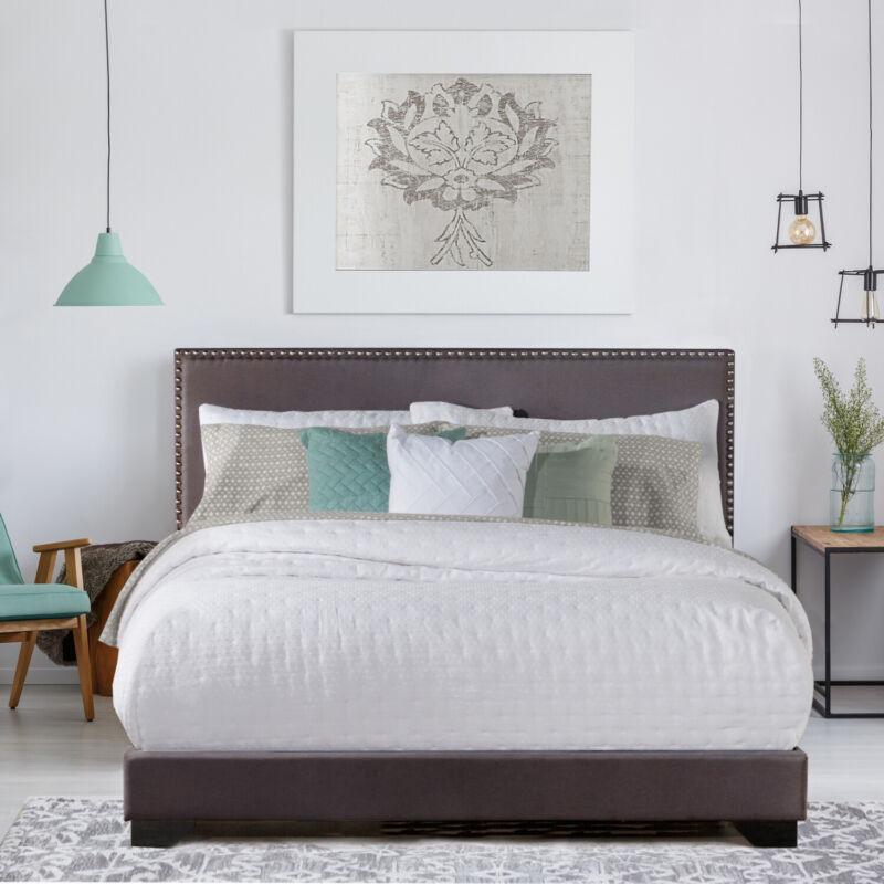 Queen Size Upholstered Bed Frame With Wood Slats Platform Headboard Mattress NEW