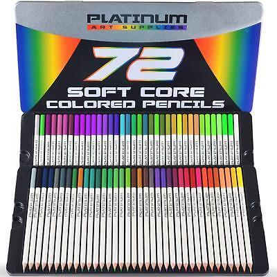 72 Professional Grade Soft Core Colored Pencils Platinum Artist Paint Tin - Art Supply Case