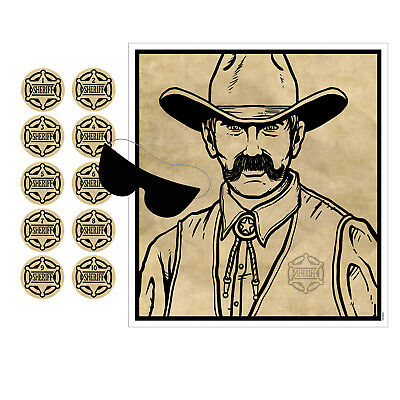 COWBOY WESTERN Party POLICE Game Pin The Badge On The SHERIFF 10 Guest OLD WEST - Party Police