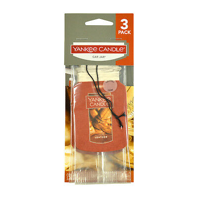 Yankee Candle Classic Paper Car Jar Hanging Air Freshener, Leather Scent 3-Pack
