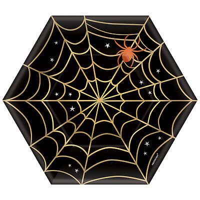 8 x Halloween Black & Gold Spider Web Paper Plates 18cm Buffet Snack Dessert