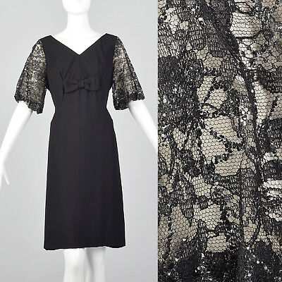 Large 1960s Lace Sleeve Shift Dress Short Sleeve VTG Black Party Bow Sequins](1960 Party Clothes)
