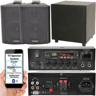 TV Premium Sonido Sistema – Negro Pared Altavoces 200W Graves & Bluetooth...