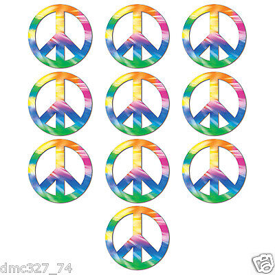 10 Retro 60s HIPPIE Party Decorations Mini TIE DYE PEACE SIGN CUTOUTS 4 1/2