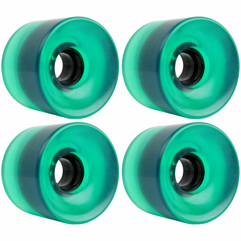LONGBOARD CRUISER WHEELS SET 65mm x 51.5mm 83A 341C Green Clear