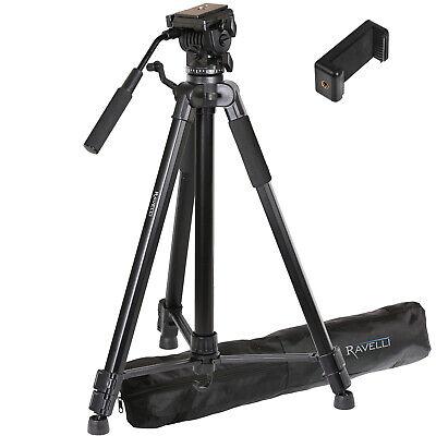"""Lightweight 72"""" Aluminum Video Tripod Stand Pan/Tilt Handle Fluid Motion Head"""