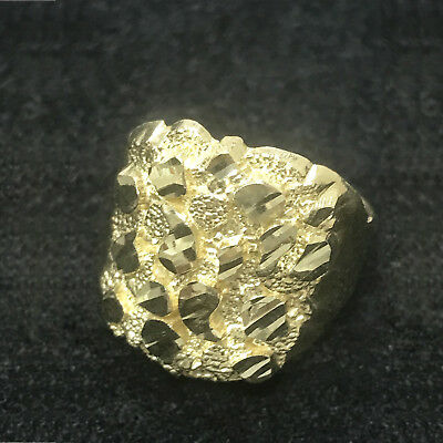 Real 10K Yellow Gold Mens Large Nugget Style Pinky Ring Mens Fashion Bold Ring