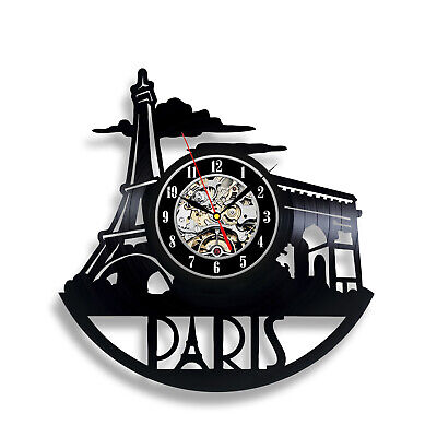 Paris Decor Watch Eiffel Tower Party Vinyl Record Wall Clock Art Gift Vintage
