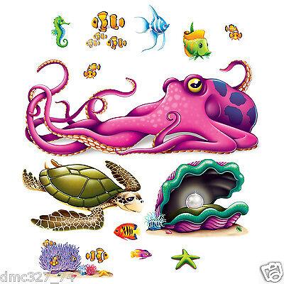 UNDER THE SEA Ocean Tropical Luau Party Decoration SEA CREATURE Wall PROPS](Under The Sea Props)