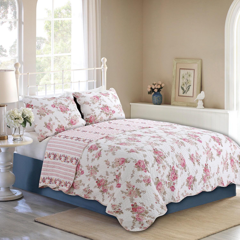 Spring Rose Floral Reversible 100%Cotton 3-Piece Quilt Set,