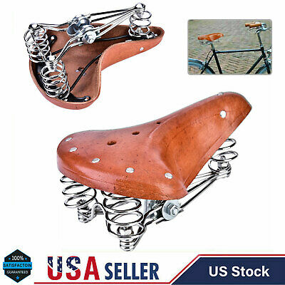Cowskin Traditional Classic Leather Cruiser Bike Bicycle Cycling Saddle Seat UK
