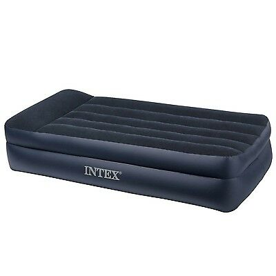 Intex Twin Size Air Mattress Raised Downy Airbed Bed Inflatable Blow Up Pump NEW