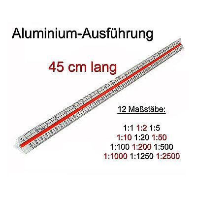 Maßstab-Lineal 45cm Alu Maßstabslineal Dreikant-Lineal Lineale Reduktion Zeichen