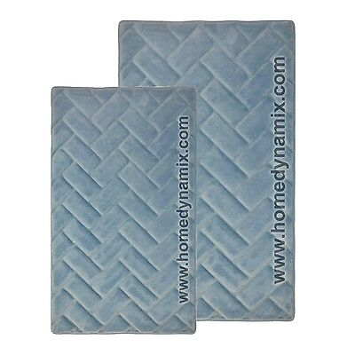 Blue Memory Foam Bath Mat/rug : Brick Design, Soft Microfiber, Non Skid Backing ()