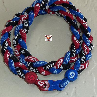 - Phiten Titanium Triple Braid Necklace: Royal Blue/Red/Black Custom