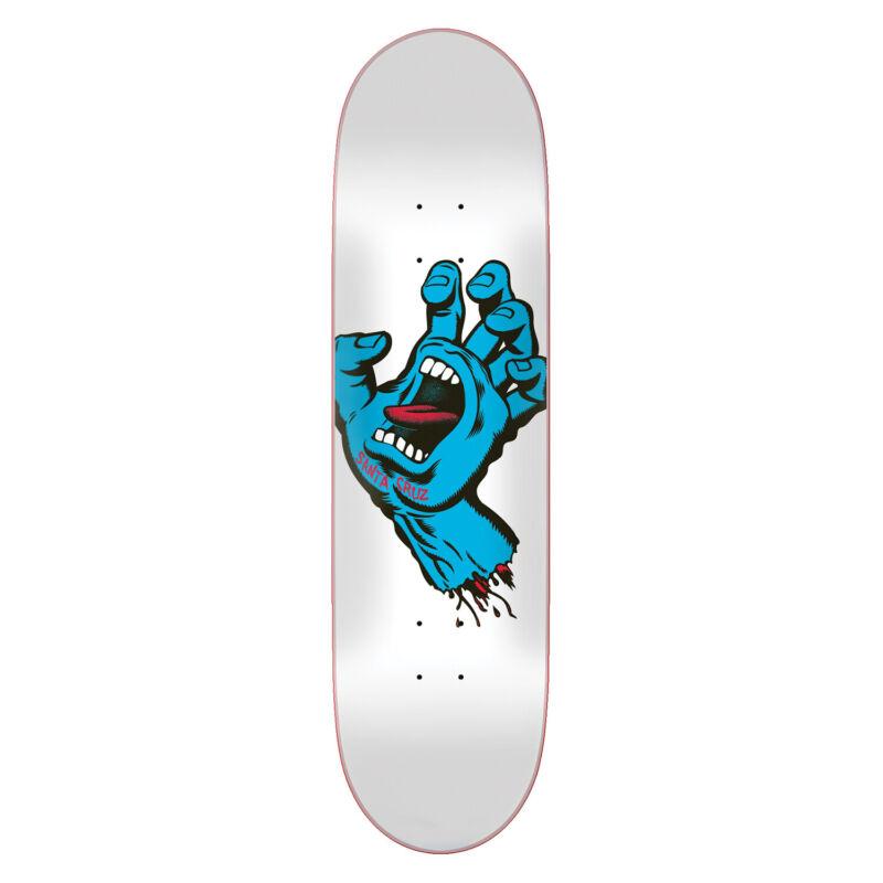 "Santa Cruz Skateboard Deck Screaming Hand Taper Tip White 8.25"""