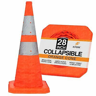 28 Collapsible Traffic Cones Pop Up Reflective Parking Emergency Safety Cone