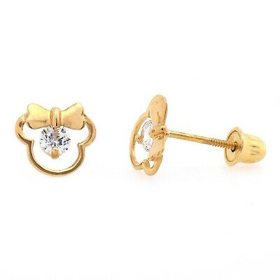 Girls Childrens 14k Gold Screw Back Studs Mouse Shape with Ribbon Earrings 14k Gold Ribbon Earrings