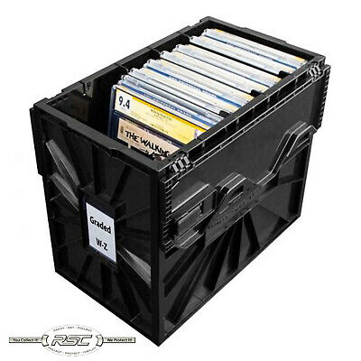 Graded Comic Book Bin - Black Plastic Storage Box w/One Partition by BCW - - Plastic Book Boxes
