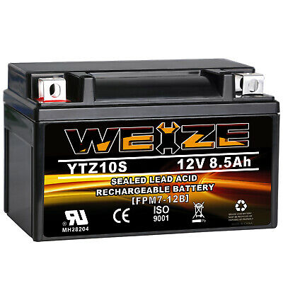 WEIZE YTZ10S-BS High Performance Maintenance Free Sealed AGM Motorcycle Battery