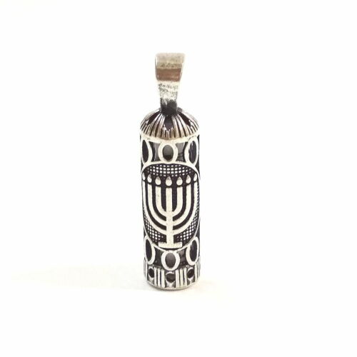 925 Sterling Silver MEZUZAH PENDANT with MENORAH Symbol. Scroll Included. Unisex