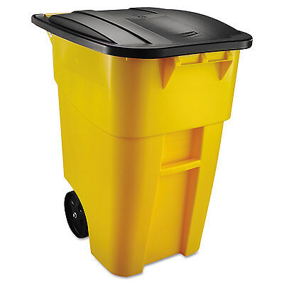 Rubbermaid Commercial Brute Rollout Container Square Plastic 50 gal Yellow