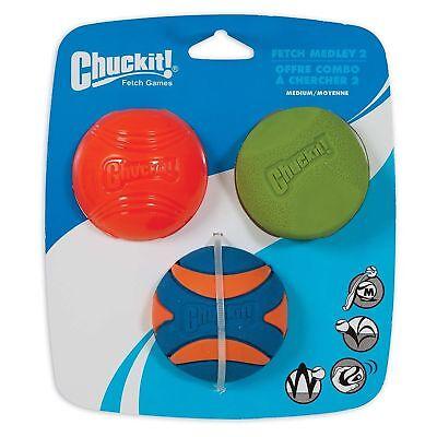 chuckit! fetch medley gen 2, 3 pack assorted medium balls 6.5CM ()