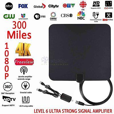 Long Range HDTV Indoor Flat Antenna Amplified VHF UHF Digital TV HD 300 Mile HD (Tv Hd Antenna Indoor Long Range)