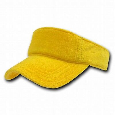 Golf Terry Visor - New Yellow Terry Cloth Golf Tennis Plain Adjustable Sun Visor Cap Caps Hat Hats