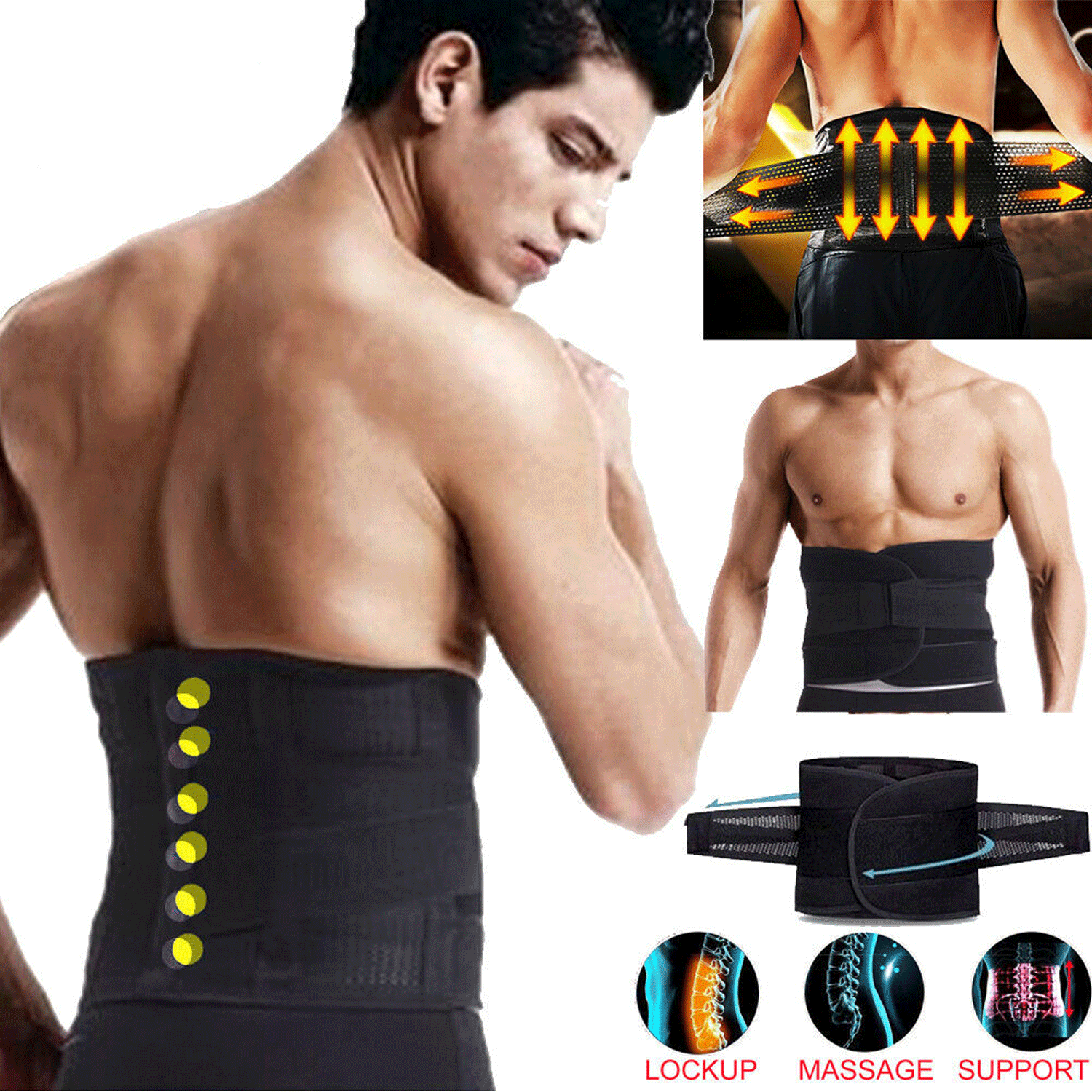 Men Adjustable Sweat Waist Loss Weight Support Brace Belt Lower Back Support US Clothing, Shoes & Accessories
