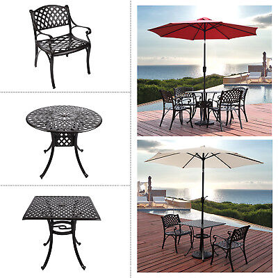 Outdoor Patio Furniture Cast Aluminum Bistro Dining Set Garden Table Chair Brown