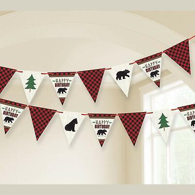 Happy Birthday Pennant Banner (LITTLE LUMBERJACK Happy Birthday PENNANT BANNER Party Wall Decorations Bears)