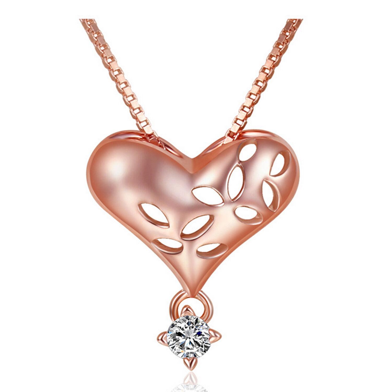 ❤️Herz Anhänger Halskette 925 Silber Rosegold Herzkette Damen Weihnachtsgeschenk