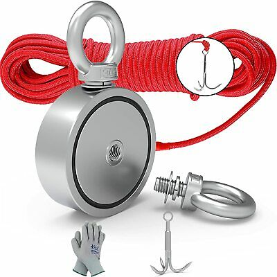 Magnet Fishing Kit Grappling Hook Gloves Rope Retrieval River Recovery Salvage