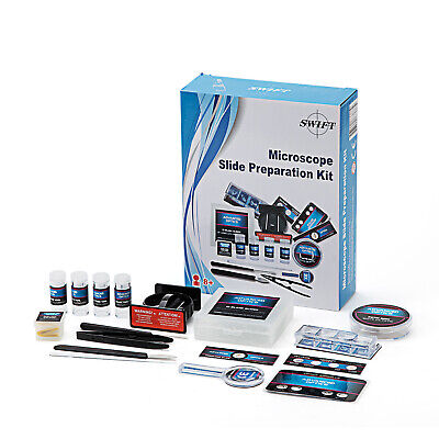 Microscope Slide Preparation Kit Science Experimental W Microtome Slides Stains